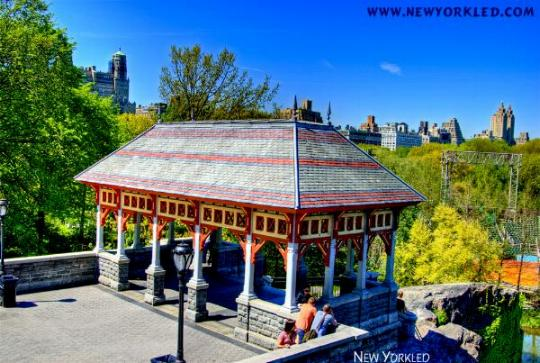 The wooden pavillion of Belvedere Castle is seen in this HDR Image.