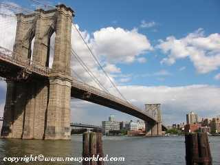 Photo of the Brooklyn side of the East River and Brooklyn Bridge