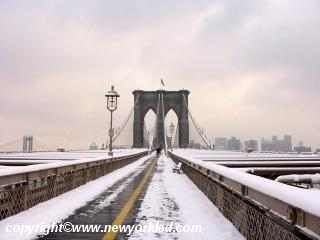 Photo of the Brooklyn Bridge in Snow