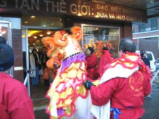 Photo of one of the many Lions visiting the Chinatown Shops.
