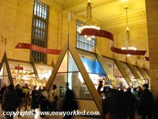 Photo of some of the booths at Grand Central's Christmas Fair.