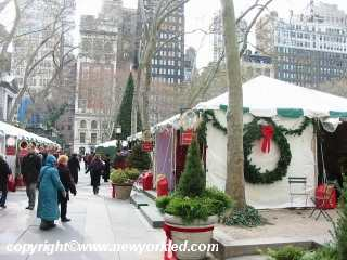 Just some of the booths at the Fete de Noel within Bryant Park.