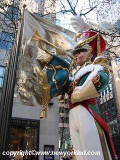 A soldier and his trumpet at Rockefeller Plaza.