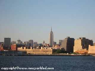 Photo of the Empire State Building from the Hudson River.