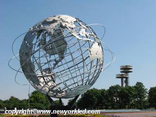 The Unisphere photo and the NY State Pavillion.