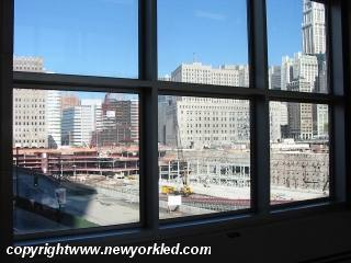 A view of Ground Zero through the window where once an entrance stood.
