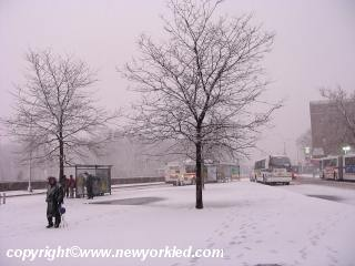 The Pelham Bay stop for many city buses as the Snow continues to drop.