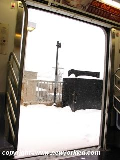 More snow as viewed from within the number 6 subway line.