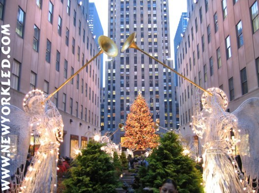 Photo of the angels and the Christmas Tree at Rockefeller Center.
