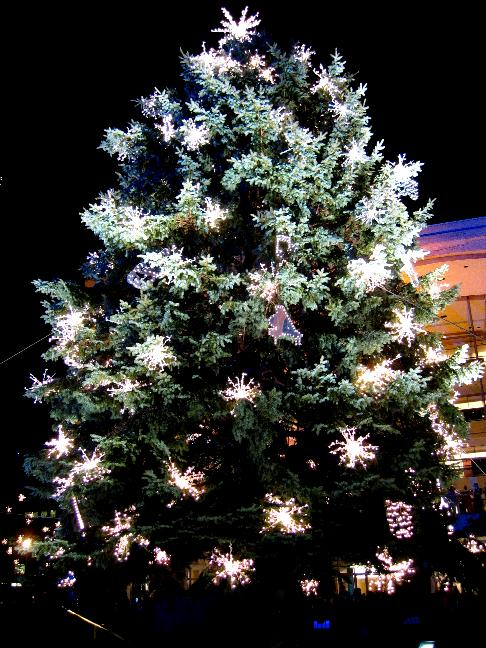 Close up photo of the Christmas Tree at Lincoln Plaza. Notice how large its decorations are.