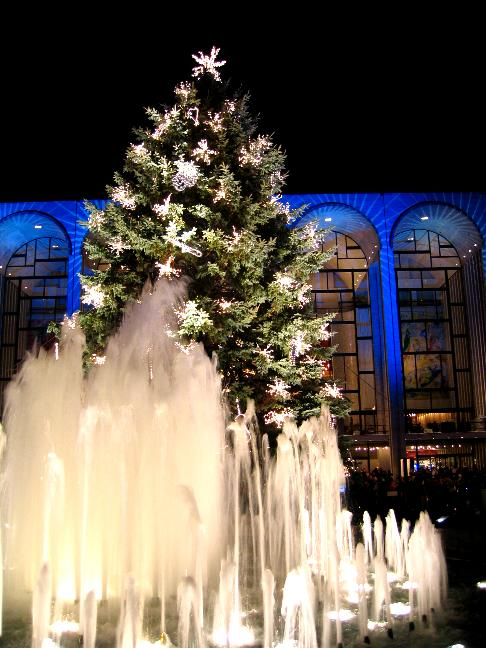 The fountain located just in front of the 2004 Christmas Tree at Lincoln Center, NYC.
