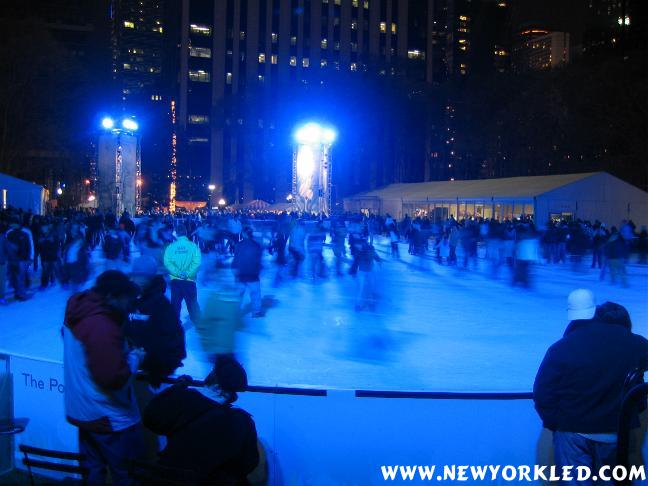 The newly added skating rink at Bryant Park in Midtown Manhattan.