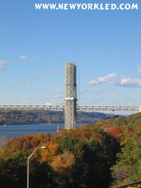 The George Washington Bridge with the turning foliage visible near and far is captured in this photo.