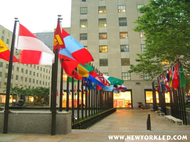 Yet another photo of the flags at the Rink at Rockefeller Plaza, NYC.