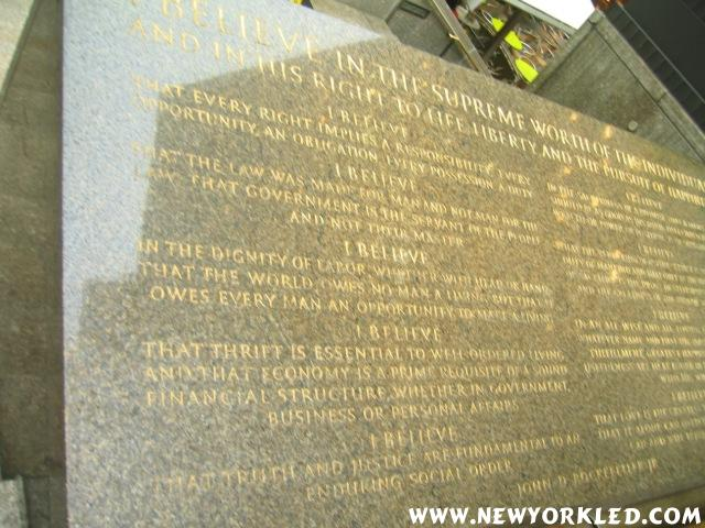 A famous John D. Rockeller Quote is etched into this large plaque which all can see at the Plaza.