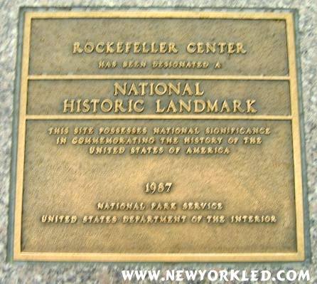 This photo features yet another plaque which proclaims Rockefeller Center as a National Historical Landmark.