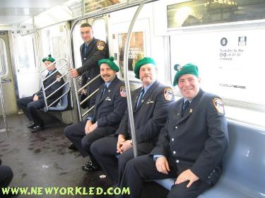 Firefighters decked out in full uniform greeted me aboard the train enroute to the Parade.