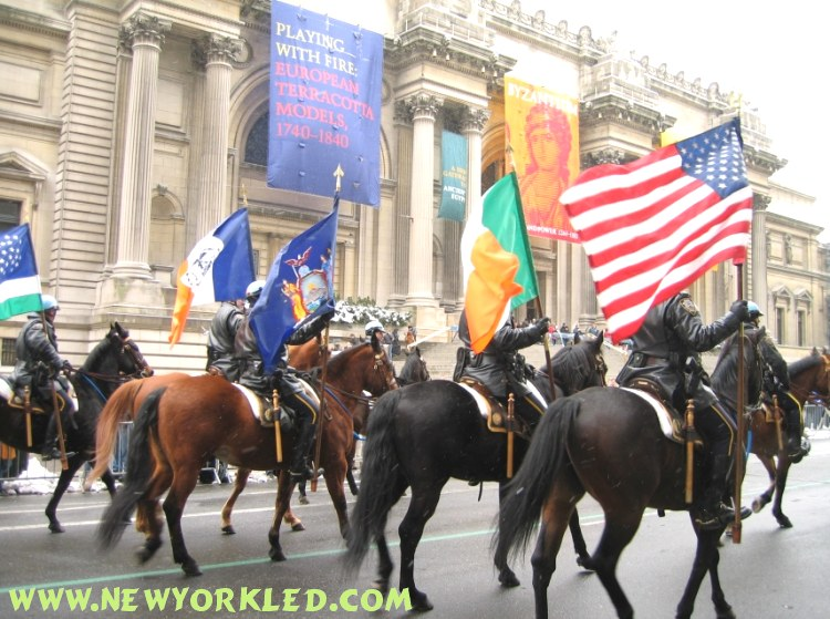 Police Officers on horses led the parade as they were photographed in front of the Museum on the Upper East Side.