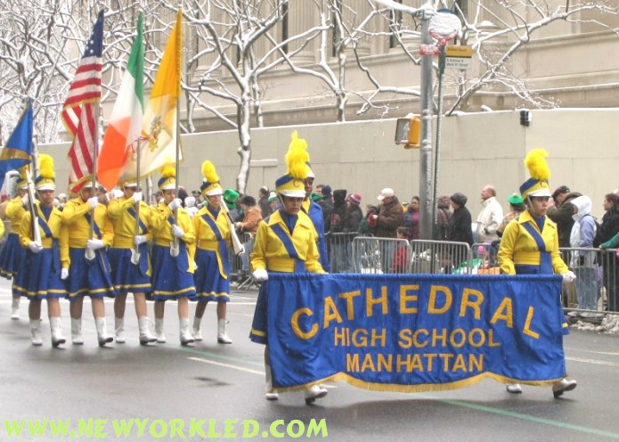 Cathedral High School's marching band consisting solely of girls were quite impressive.