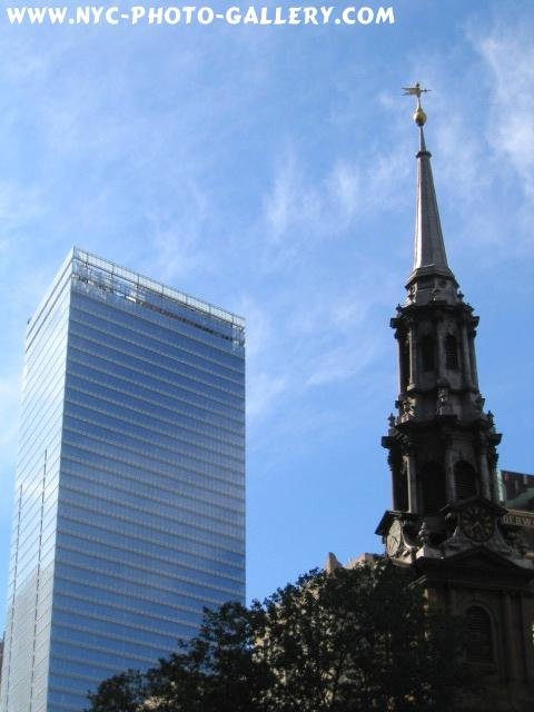 This photo shows off the spire of St. Paul's Chapel on this gorgeous early Summer Day with Seven World Trade Center in the background.