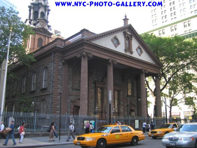 View of St. Paul's Chapel from across the street of it's front entrance on Broadway in Lower Manhattan.