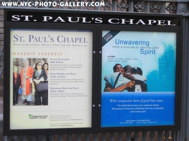 Photo here features the welcoming sign of St. Paul's Chapel where everyone is welcomed.