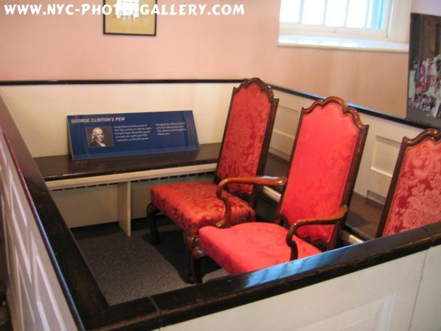 Photo here shows off George Clinton's pew. George Clinton was a governor of New York State.