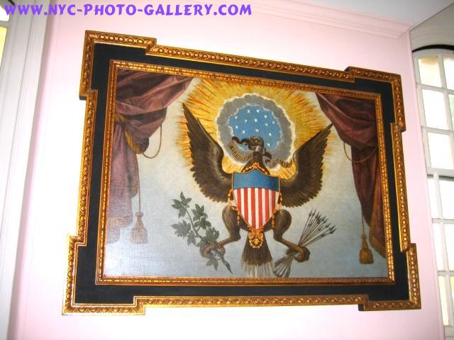 This painting of the Great Seal hangs right over George Washington's Pew within St. Paul's Chapel.