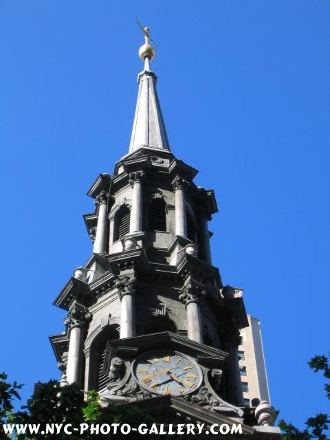 Here is the Spire atop St. Paul's Chapel. Within you can see the clock.