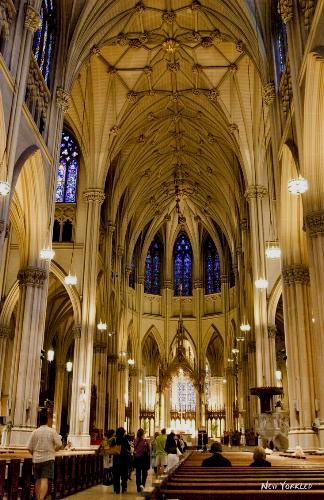 Looking down the aisle from the apse at Saint Patrick's Cathedral in NYC.
